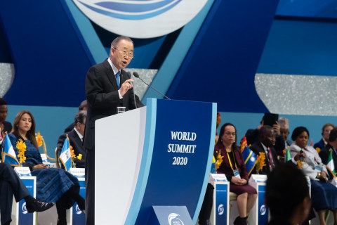 "Former Secretary-General of the United Nations, Mr. Ban Ki-moon said at the recent virtual summit ""Rally of Hope"", Aug. 9, 2020, he believed that ""UPF will become a cornerstone to build lasting peace around the world."" (Photo: Business Wire)"