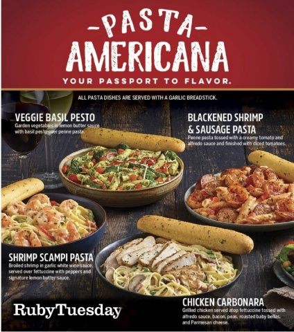 Ruby Tuesday introduces four new familiar, flavorful pasta menu items available for dine-in and Ruby TueGo. (Photo: Business Wire)