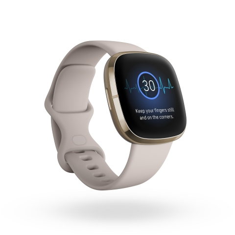 Fitbit Sense is the company's first device compatible with an ECG app that enables users to take a spot check reading of their heart that can be analyzed for the heart rhythm irregularity atrial fibrillation. (Photo: Business Wire)