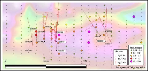 Figure 3. Further drilling will also target along trend base of till anomalies to the east, where the strike of the anomaly now extends more than 1 km. (Graphic: Business Wire)