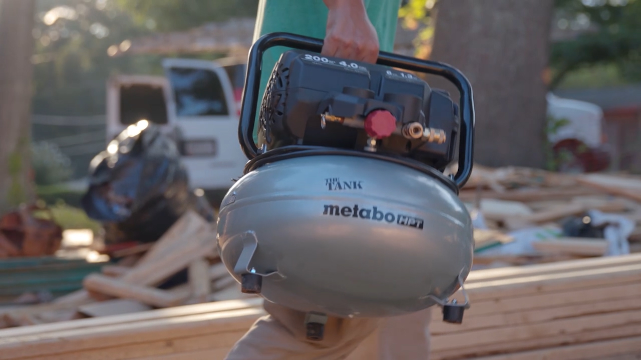 The Tank 200 PSI Pancake Compressor from Metabo HPT rolls through the toughest job sites delivering ultimate power and versatility