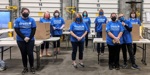Empire BlueCross volunteers sort and package food boxes for distribution at the Regional Food Bank of Northeastern New York (Photo: Business Wire)