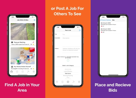 Bidbud's simple yet innovative platform brings real world bidding into the gig economy by allowing users to upload a job they need completed, while giving workers the opportunity to place a bid on posted jobs that fit their unique skill sets. (Graphic: Business Wire)