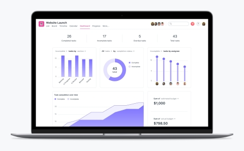Asana Dashboards are designed so that leaders can quickly visualize where work stands and if a project needs additional attention. (Graphic: Business Wire)