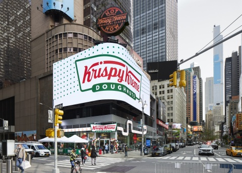 The Dough Must Go On! Krispy Kreme celebrates the grand opening of its new 24-hour flagship on Broadway in New York City's Times Square on Tuesday, Sept. 15, 2020, by turning on the world's largest Hot Light – 15-feet tall and weighing 8,000 pounds – signaling that hot and fresh doughnuts are available for New Yorkers and visitors alike, all day and all night. (Photo: Business Wire)