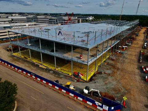 Construction continues at Aligned's second hyperscale data center in Ashburn, VA. (Photo: Business Wire)