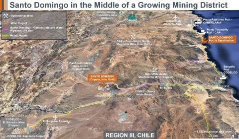 FIGURE 1: The Region III District in Chile has enormous potential for copper and iron ore mine development. Capstone's Santo Domingo is located in the middle of this growing mining district. (Graphic: Business Wire)