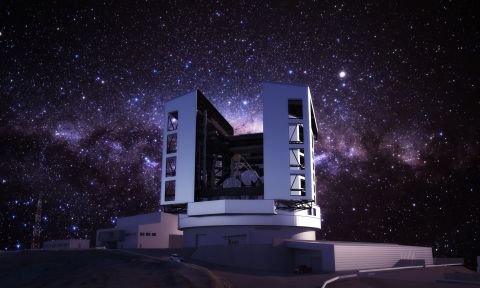 The Giant Magellan Telescope is currently being constructed at Las Campanas Observatory in Chile. With seven of the world's largest mirrors ever constructed, each at 8.4 meters in diameter, the GMT will provide ten times better resolution than the Hubble Space Telescope. [Credit: GMTO Corporation/M3 Engineering]