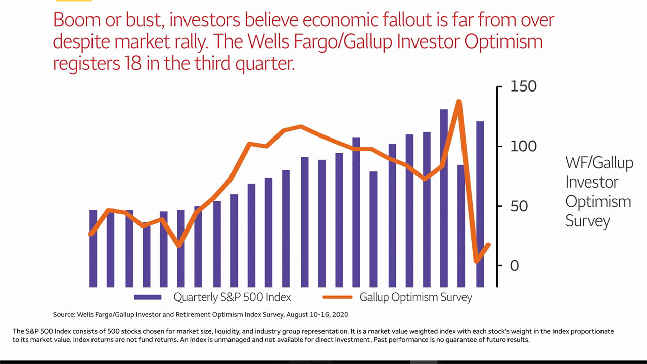 Boom or bust, investors believe economic fallout is far from over despite market rally. The Wells Fargo/Gallup Investor Optimism registers 18 in the third quarter.