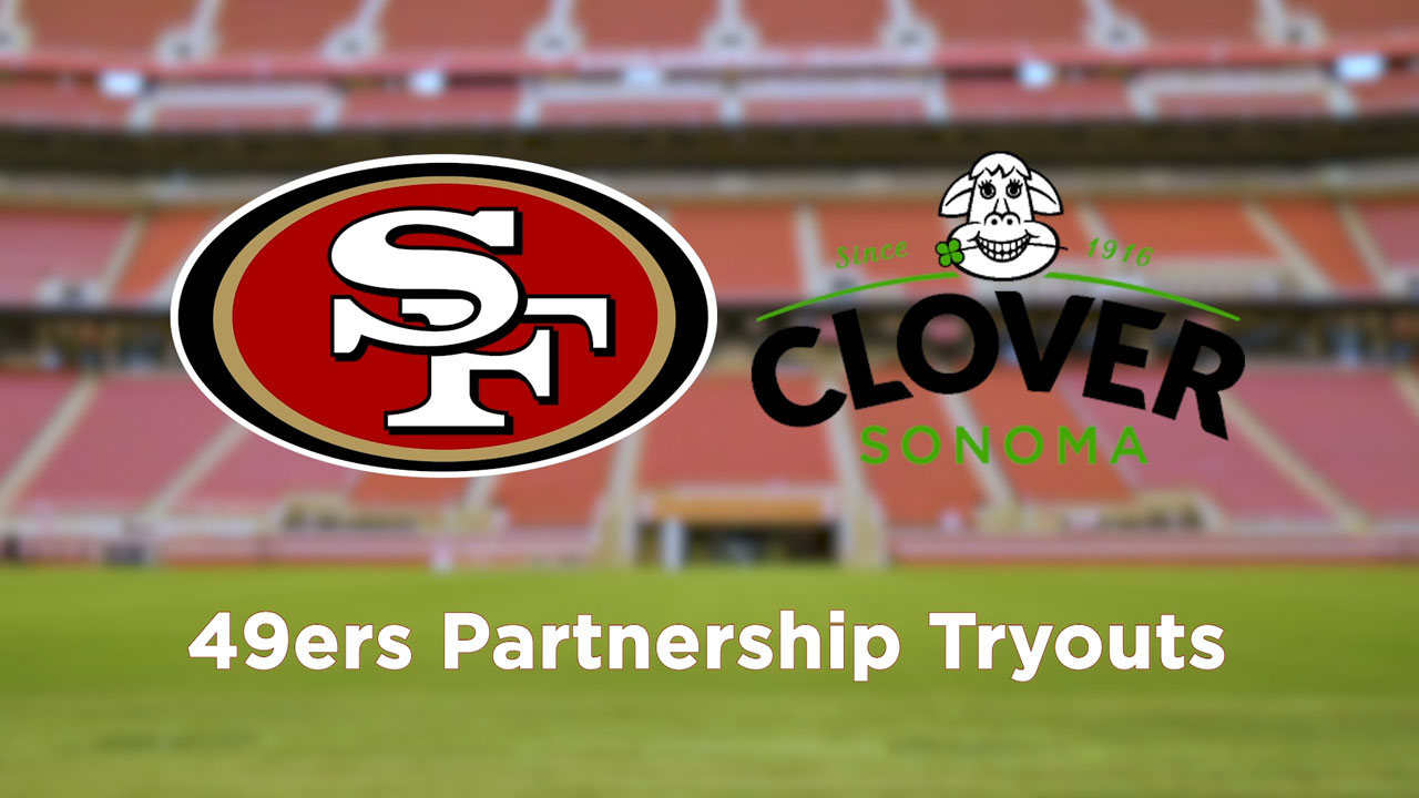 "The San Francisco 49ers are teaming up with Clover Sonoma as the ""Preferred Milk of the San Francisco 49ers"". To celebrate the partnership, beloved mascots Sourdough Sam and Clo the Cow test their skills on the field. Watch Clo the Cow try out for the 49ers team and see if she makes the cut."