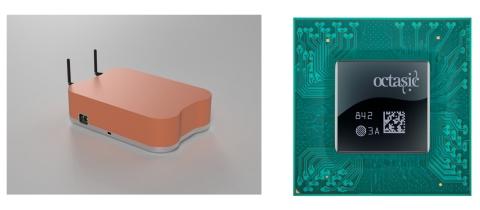 無線基地局(左)と新世代システムオンチップ(右)(イメージ)(写真:ビジネスワイヤ)