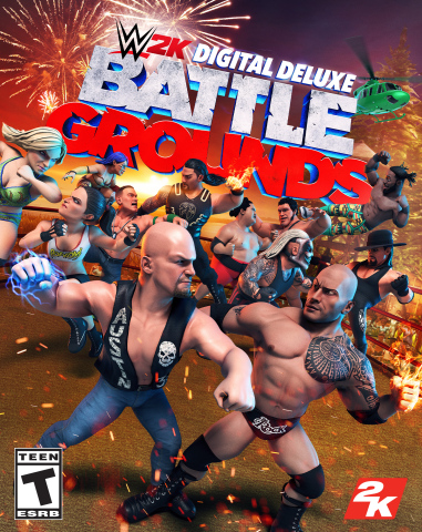 Developed by Saber Interactive and available now for the PlayStation®4 system, the Xbox One family of devices, including the Xbox One X and Windows PC via Steam, Nintendo Switch™ system and Stadia for $39.99*, WWE 2K Battlegrounds brings fast-paced action and an assortment of power-ups, special moves, unconventional melee items and interactive environments to take the brawl to the next level. (Graphic: Business Wire)