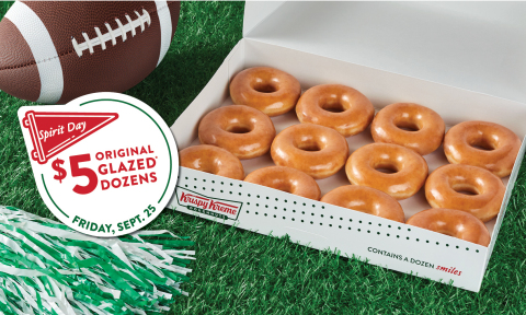 Athletes and fans who sport their team gear at Krispy Kreme shops Sept. 25 will receive $5 Original Glazed Dozens (Photo: Business Wire)