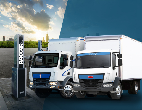 PACCAR Electric Charger with Kenworth K270E and Peterbilt Model 220EV Trucks (Photo: Business Wire)