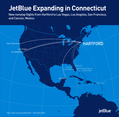 JetBlue expands in Hartford with four additional routes. (Photo: Business Wire)