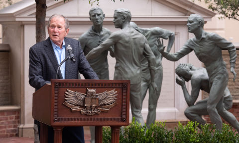 President George W. Bush at the dedication of the Non Sibi monument at Old Parkland in Dallas, honoring the heroes of Flight 93. Photo by Grant Miller.