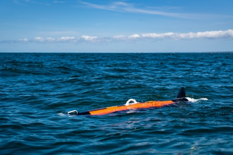 The Riptide UUV-12, pictured here off the coast of Plymouth, Mass., during design validation testing conducted in July 2020. Photo credit: BAE Systems
