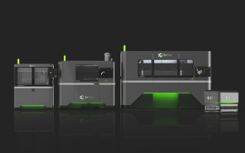The InnoventPro (left) is an advanced entry-level metal 3D printer that rounds out ExOne's full family of production metal binder jetting systems, which includes the X1 25Pro (center) and the X1 160Pro (far right). ExOne is also introducing the X1D1 automated guided vehicle for efficient Industry 4.0 transport of heavy build boxes from 3D printing through final sintering operations. (Photo: Business Wire)