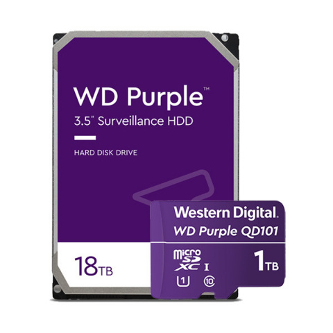 Western Digital has expanded its family of WD Purple™ storage solutions with the industry's highest capacity 18TB surveillance HDD for video recorders, and the 1TB WD Purple SC QD101 microSD™ card for AI-enabled cameras. (Photo: Business Wire)