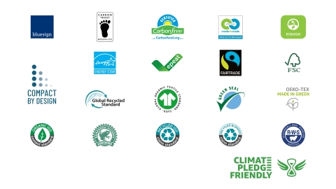 Program launches with over 25,000 Climate Pledge Friendly products with one or more of 19 sustainability certifications (Graphic: Business Wire)
