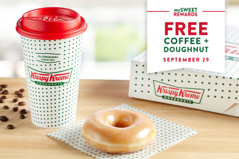 Krispy Kreme will also offer all guests a free coffee on Tuesday, Sept. 29 (Photo: Business Wire)