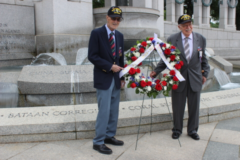Merrill's Marauders (L-R) Gilbert Howland, 97, from New Jersey and Bob Passanisi, 96, from New York, place a wreath near the China Burma India Theater monument of Washington's WW II Memorial in 2019 during a trip to gain support for the Congressional Gold Medal. (Photo: Business Wire)