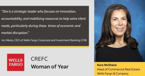 Jon Weiss, CEO of Wells Fargo Corporate and Investment Banking, comments on Kara McShane, Head of Wells Fargo Commercial Real Estate, receiving CREFC's Woman of the Year honor (Photo: Business Wire)