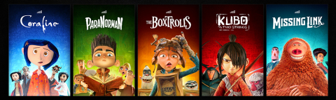 LAIKA's award-winning portfolio of films includes (L to R) Coraline, ParaNorman, The Boxtrolls, Kubo and the Two Strings, and Missing Link (Photo Courtesy LAIKA)