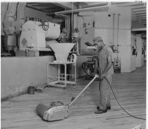From its original focus on planing lumber for building floors, Tennant Company transitioned to manufacturing floor cleaning and maintenance equipment like this early Tennant floor machine. Today, the company is a world leader in manufacturing high-quality cleaning equipment and leading-edge technologies in the cleaning industry. (Photo: Tennant Company)
