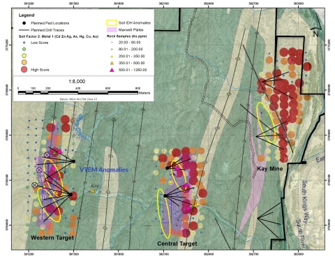 Figure 5. Coincident VTEM, Soil, and Rock anomalies over the Kay Mine, Central Target, and Western Target.