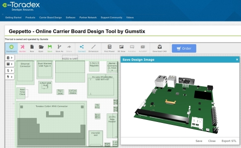 Embedded directly in the Toradex website, Geppetto generates EagleCAD, .BRD and .SCH files of customized Toradex design on-demand, as well as instant pricing and customized device trees, datasheets and .STL models. (Graphic: Altium LLC)
