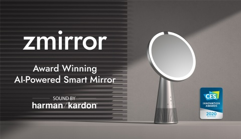 ICON.AI debuts Zmirror, a powerful smart mirror with a fully integrated display speaker, in partnership with Harman Kardon. First announced in January at CES, where it was named a CES 2020 Innovation Award Honoree. Zmirror is positioned to disrupt the beauty industry with high-quality product development and Harman's top-of-the-industry sound innovation. The smart mirror with Amazon Alexa built-in brings new opportunities in the smart display speaker market. This new product combines the power of fully integrated voice assistants with the basic needs for a mirror and display system to follow. Although first released in prototypes with primary quality speakers, the company has differentiated itself from all other competitors with its partnership with Harman International for the official launch. (Graphic: Business Wire)