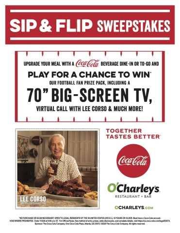 Upgrade your O'Charley's meal with a Coca-Cola beverage for a chance to win our Football Fan Prize Pack! (Graphic: Business Wire)