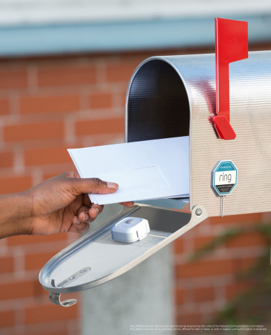 Ring is also providing additional security for the mailbox with the launch of Ring Mailbox Sensor. Install a Ring Mailbox Sensor in an existing mailbox to receive notifications via your Ring app or Alexa-enabled devices when mail arrives or when the mailbox is opened. (Photo: Business Wire)