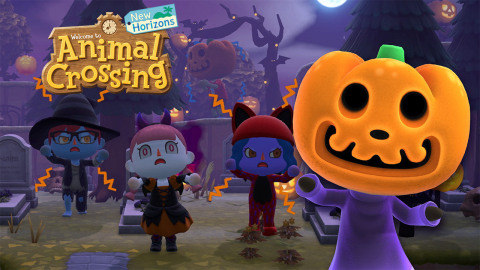 On Sept. 30, a free update is coming to the Animal Crossing: New Horizons game for the Nintendo Switch system that adds some spooky touches to the season, with Halloween costumes, character customization options, DIY projects and festivities. (Graphic: Business Wire)