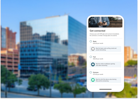Homebase relies on an Aruba ESP-based network to deliver smart living experiences to apartment residents and property owners. Residents can choose different levels of connectivity based on their needs via the Homebase mobile app. (Photo: Business Wire)