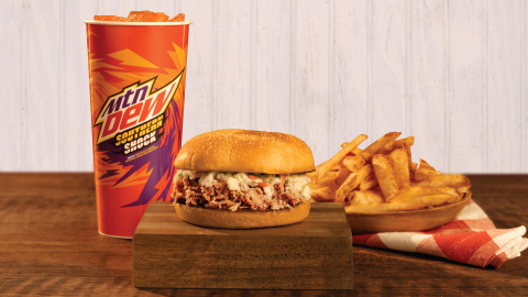 Bojangles Pulled-Pork BBQ, Served for a Limited Time Only, Alongside your Favorite Fixin's and a Refreshing Glass of Mt. Dew Southern Shock. (Photo: Bojangles')