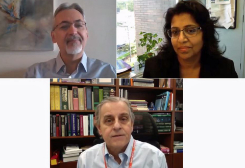 Drs. Kevin Tracey, Valentin Pavlov, Sangeeta Chavan welcome participants to the 2020 Bioelectronic Medicine Summit (Credit: Feinstein Institutes)