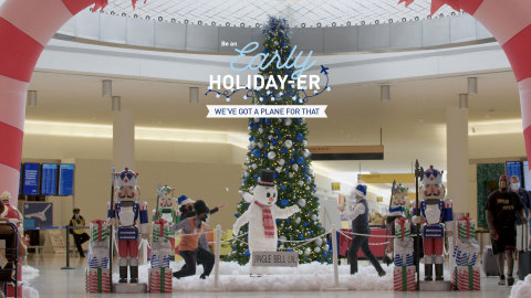As part of its 'Be an Early Holiday-er' initiative, JetBlue decked the halls of its home terminal, T5 at New York's John F. Kennedy International Airport, completely transforming it into a holiday wonderland. (Photo: Business Wire)