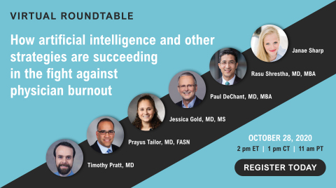 A virtual roundtable featuring experts on physician burnout will be held October 28, 2020. Anyone may register to attend. Janae Sharp, founder of Sharp Index, will serve as moderator. Panelists include Dr. Rasu Shrestha of Atrium Health, Dr. Paul DeChant of Berkeley Research Group, Dr. Jessica Gold of Washington University in St. Louis, Dr. Prayus Tailor of Nephrology Associates, P.A. (of Delaware), and Dr. Timothy Pratt of OSF Healthcare. (Graphic: Business Wire)