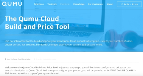 The Qumu Cloud Build and Price Tool is now online. (Graphic: Qumu)