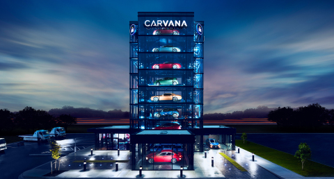 Carvana has launched its newest Car Vending Machine in Detroit. The brick and glass structure stands eight stories tall with a 27-vehicle capacity, offering car buyers in Motor City an entirely New Way To Buy A Car®. (Photo: Business Wire)