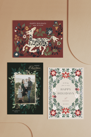 """Minted, the design marketplace that brings unique design from the best independent artists to consumers everywhere, today announced a collaboration with The Metropolitan Museum of Art to reimagine classic works of art as contemporary holiday card and greeting card designs by Minted's global community of independent artists. Shown here, clockwise from top: """"Silk Animal Carpet"""" by Angel Walker, """"Appliqué Floral"""" by Rachel Nanfelt, and """"Emerald Vines"""" by Susan Moyal. (Graphic: Business Wire)"""