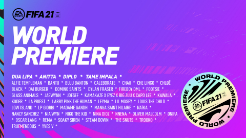 FIFA 21 World Premiere kicks off on October 1 with more than 40 global artists featured on the FIFA 21 Soundtrack coming together on their respective channels to celebrate the launch of the game (Graphic: Business Wire)