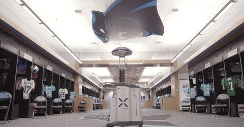 As part of their strategy to minimize risk for players and personnel from exposure to SARS-CoV-2 (the virus that causes COVID-19), the Carolina Panthers have deployed 2 LightStrike Germ-Zapping Robots and two LightStrike Disinfection Pods to quickly disinfect team facilities and equipment. (Photo: Business Wire)