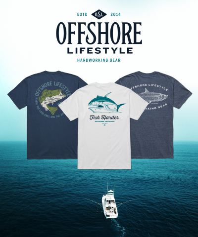 Pictured above from left to right are the Haulin' Bass, Fish Harder and Silver King shirts. The new Offshore Lifestyle apparel draws inspiration from the apex predator fish native to different regions including the Bluefin Tuna, Largemouth Bass, Marlin, Tarpon and Roosterfish. (Photo: Business Wire)
