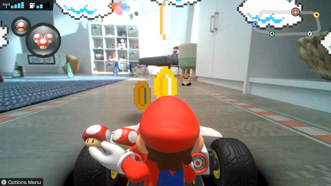 In the Mario Kart Live: Home Circuit game for the Nintendo Switch family of systems, different environmental themes, such as underwater, volcanic and retro, spice things up further by introducing a variety of in-game hazards and features – all of which affect the kart in real life. (Photo: Business Wire)