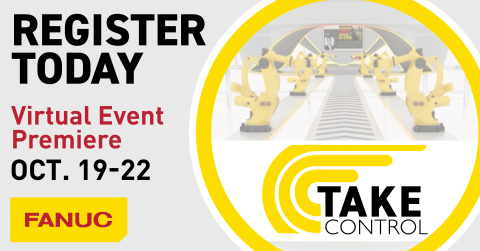 """FANUC will launch its first virtual event called """"Take Control"""" Oct. 19-22, 2020. (Graphic: Business Wire)"""