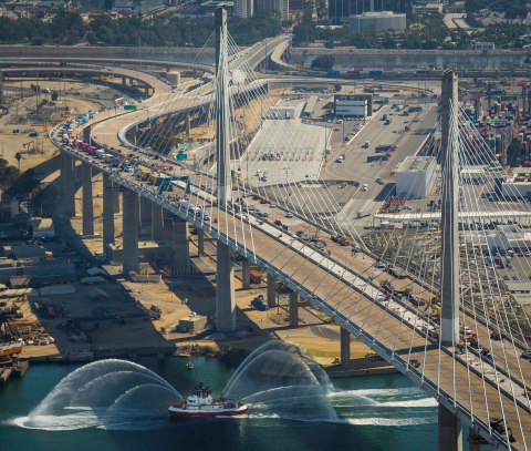 The ceremonial opening of the new bridge at the Port of Long Beach (CA) was celebrated by sea, land and air. The cable-stayed bridge will open to traffic on Oct. 5. (Photo courtesy of the Port of Long Beach).