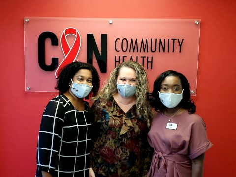 Demetris McDowell, Practice Administrator (left), Shannon Dewitt, Front Desk Receptionist (center), and Nadia Winston, Nurse Practitioner (right) (Photo: Business Wire)
